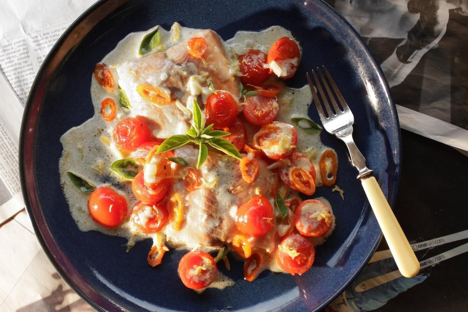 Easy Salmon in Greek Yogurt Ouzo Cream Sauce