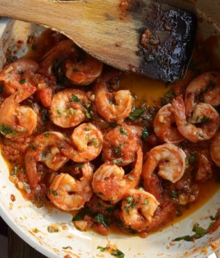 Greek Shrimp Diavolakia with Tarama and Hot Pepper Flakes