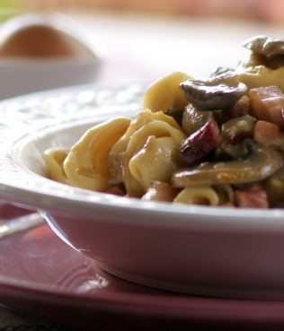 Tortellini, Mushrooms and Bacon in Light Yogurt Cream Sauce