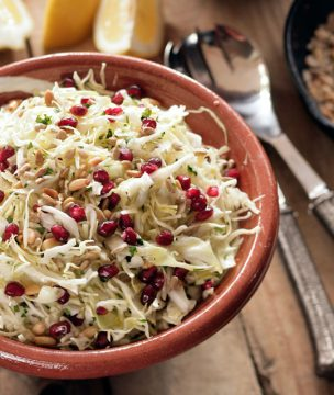 Winter Cabbage Salad with Pomegranate and Pine Nuts