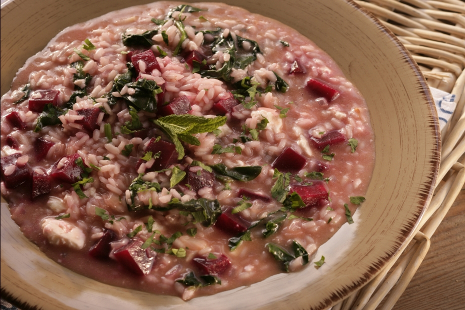 beet risotto with feta