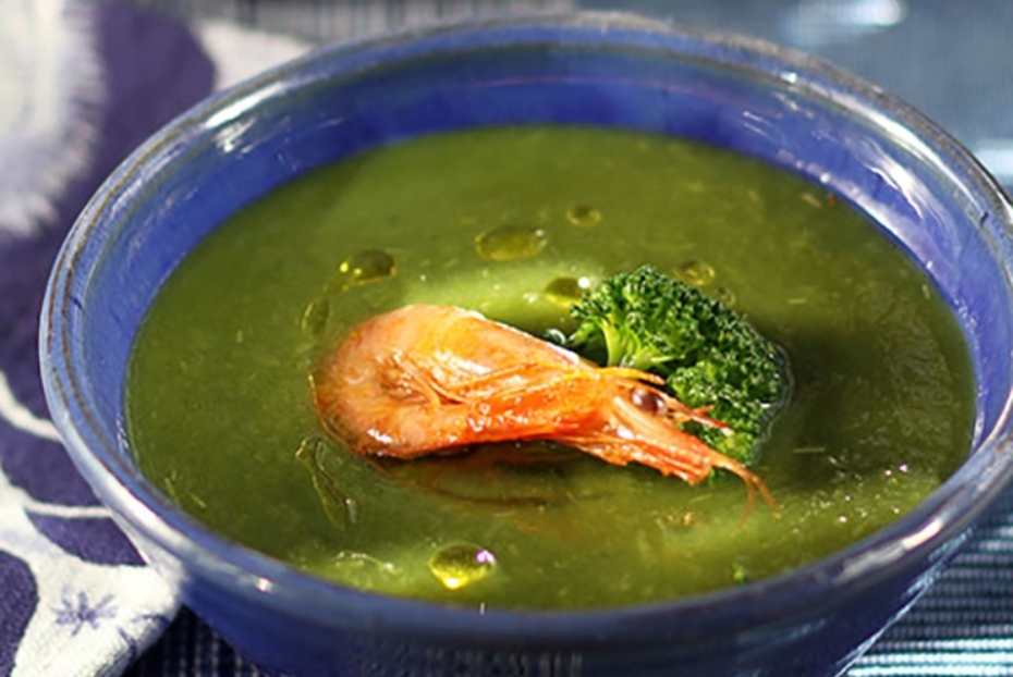 Broccoli-Shrimp Bisque with Greek Olive Oil
