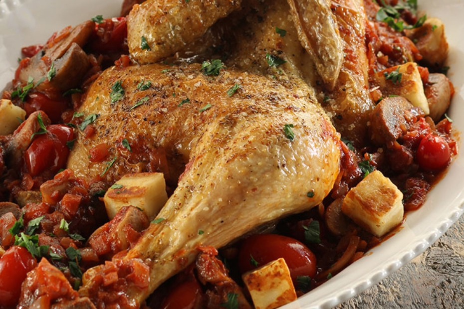 Hunter's Roasted Chicken with Wine, Greek Oregano & Haloumi