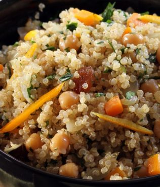 Jewelled Quinoa with Chick Peas, Orange, Greek Raisins & Olive Oil
