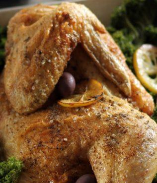Roasted Lemon Chicken with Kale and Kalamata Olives