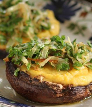 Roasted Portobello Mushrooms Stuffed with Greek Fava