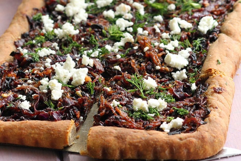 Whole Wheat Tart with Red Cabbage, Caramelized Onions and Feta