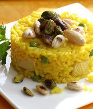 Ouzo Saffron Rice Pilaf with Peas, Pistachios and Almonds