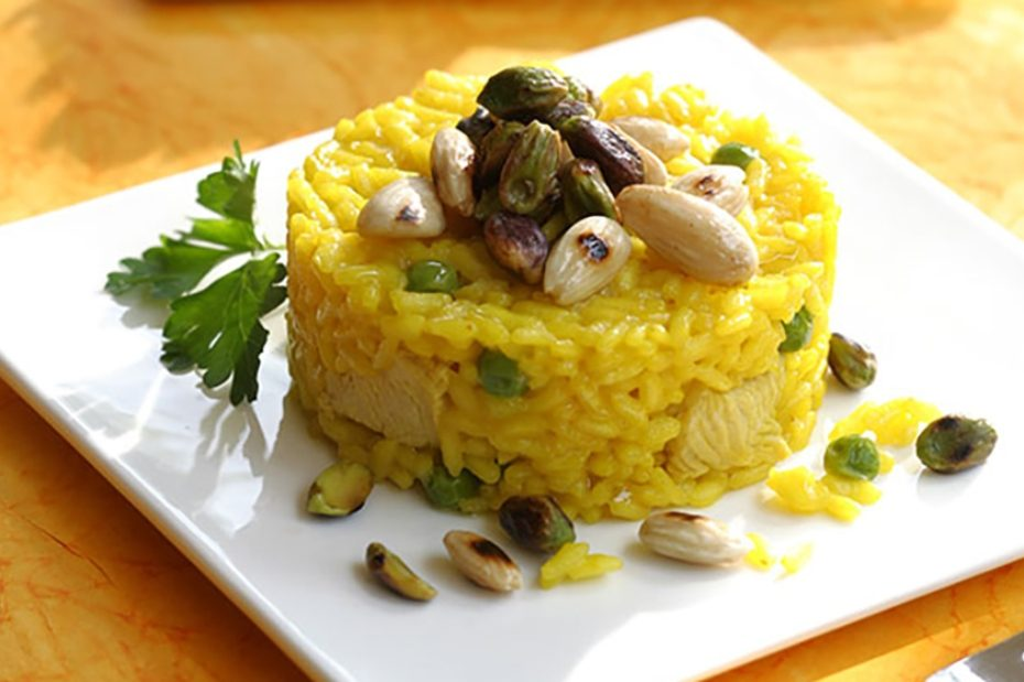 Ouzo Saffron Rice Pilaf With Peas Pistachios And Almonds Greek Food Greek Cooking Greek Recipes By Diane Kochilas