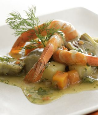 Artichokes Braised a la Polita with Shrimp & Greek Saffron