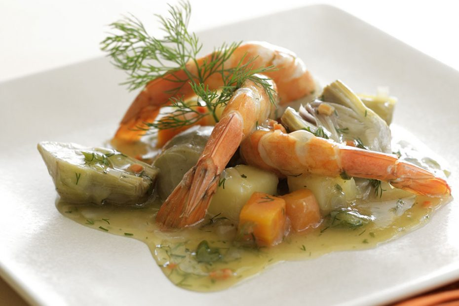 Braised artichokes, carrots, potatoes and shrimp