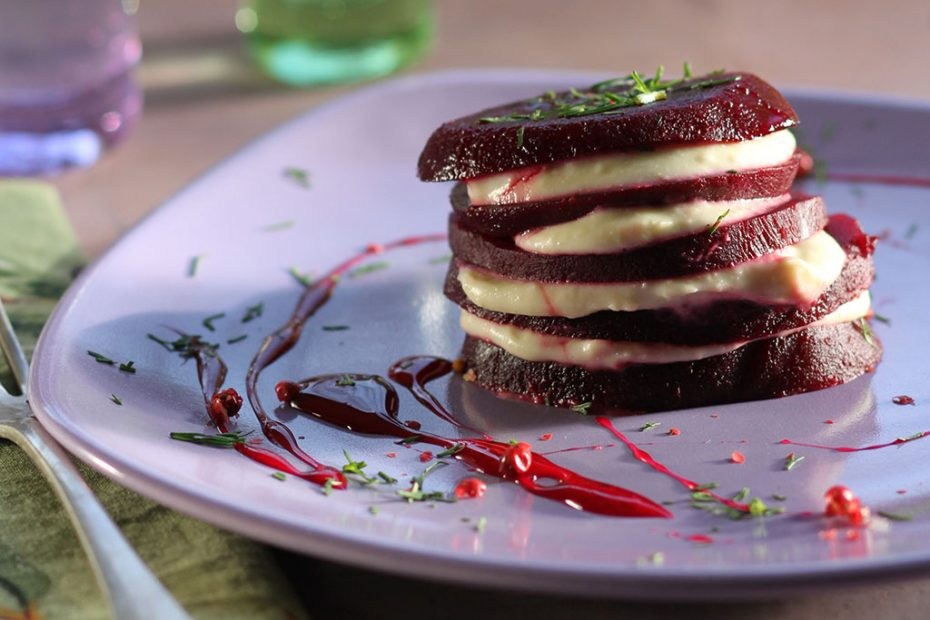 Beet stacks with taramosalata, the Greek fish roe spread