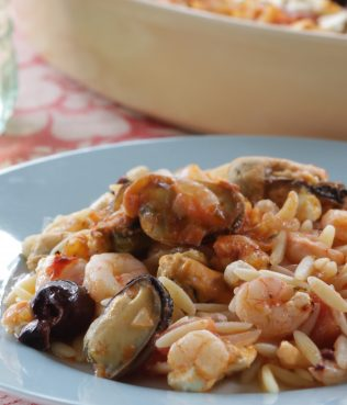 Baked Seafood Orzo with Kalamata Olives