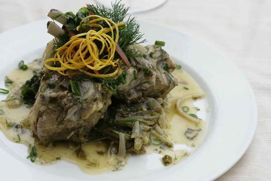 Lamb or goat braised with wild greens and served with egg-lemon avgolemono sauce
