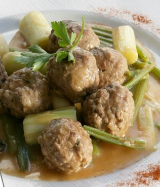 Meatballs Braised with Leeks & Celery
