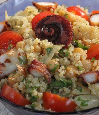 Greek Salad with Quinoa, Octopus & Chick Peas