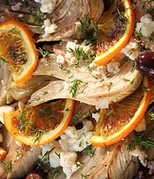 Roasted Fennel with Kalamata Olives, Oranges, Herbs and Feta