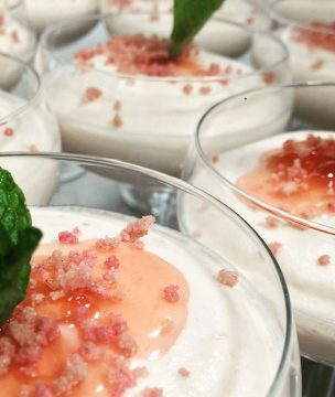 Greek yogurt mousse dessert with fruit preserves