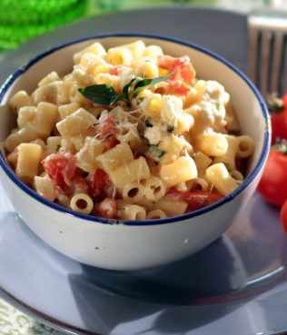 Short Pasta with Feta, Cherry Tomatoes & Basil