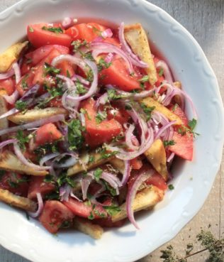 Ikaria Summer Tomato Salad with Grilled Pita Strips