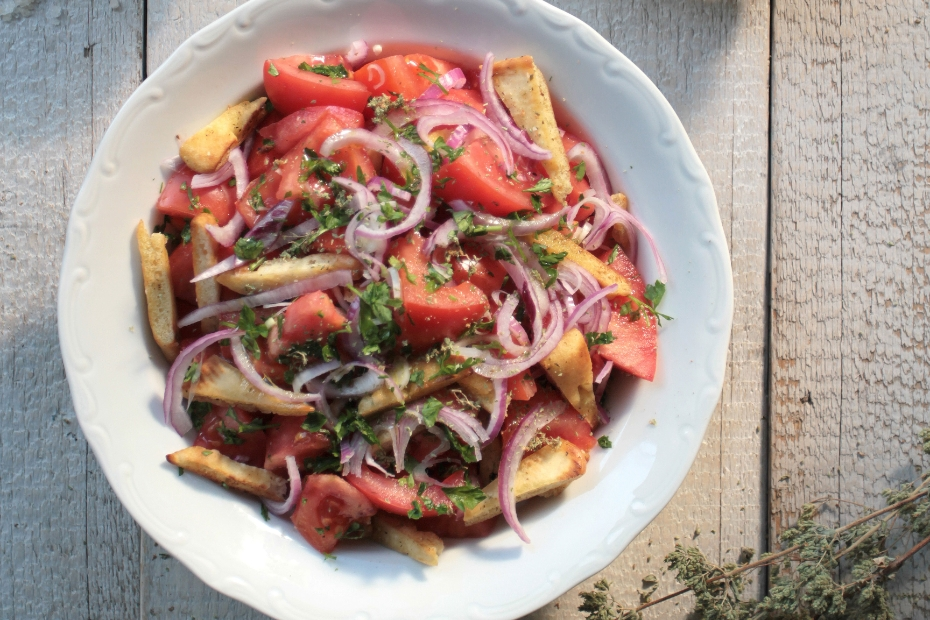 Classic Greek Salad with Grilled Pita Strips