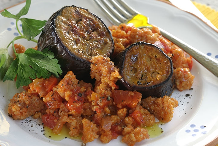 Eggplant Stewed wit Trahana and Tomatoes
