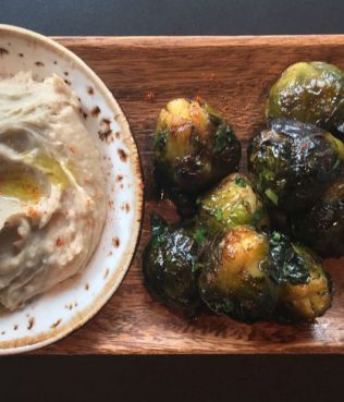 Honey-Roasted Brussels Sprouts with Chestnut Skordalia