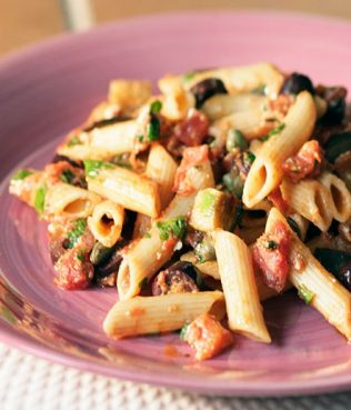 Rigatoni with Kalamata Olives, Capers, Eggplants and Manouri Cheese