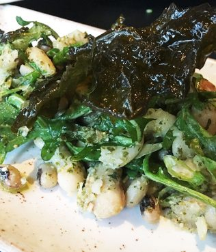 Three Bean - Arugula Salad with Grape Leaf Pesto