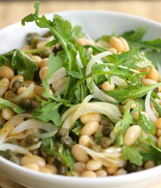 Arugula-White Bean Salad with Capers & Onions