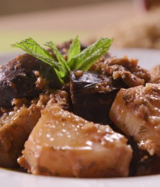 Eggplant Stewed with Trahana