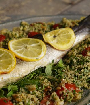 Bulgur Pilaf with Roasted Sea Bass