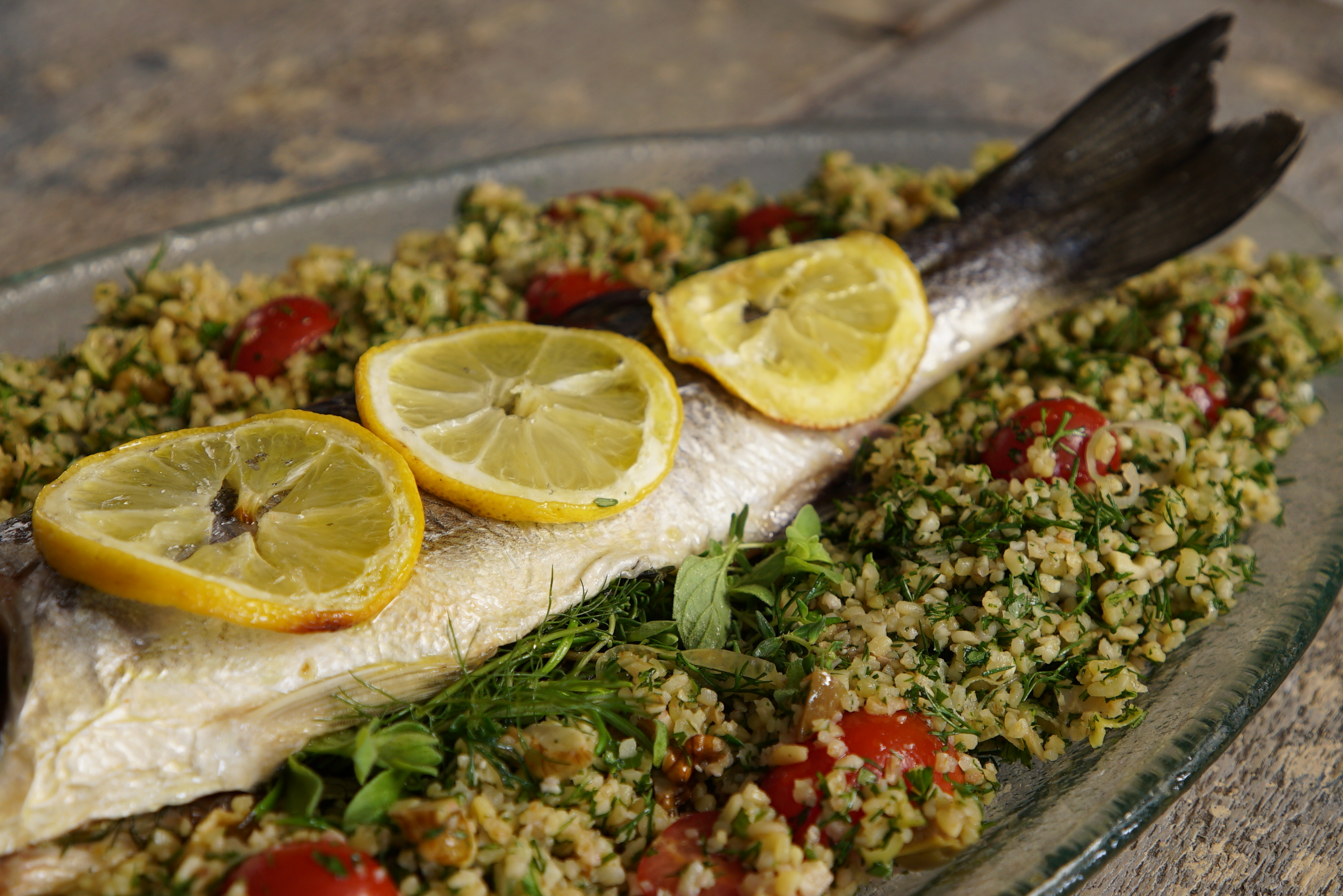 Sea Bass Bulgar