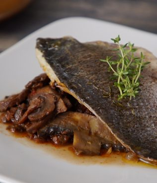 Sea Bass with Mushrooms and Xinomavro Red Wine