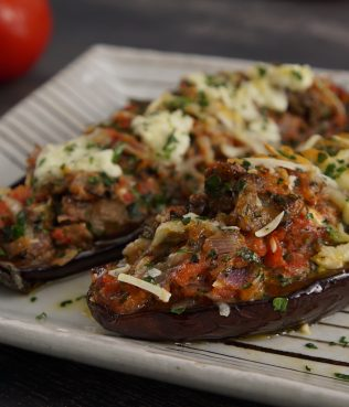 Little Shoes – Eggplant Halves Baked With Three Cheeses And Tomato