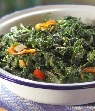 Ikarian Sfouggato - Aromatic Greens Cooked with Roe and Chile Pepper