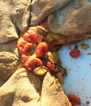 Cherry Tomato-Zucchini-Haloumi Pie with Whole Wheat Filo