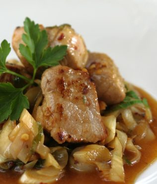 Goumenissa Pork and Leeks in a Skillet, Prassotigania