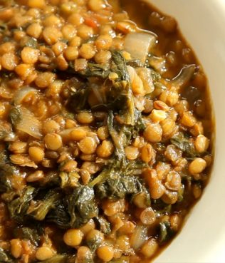 Lentil-Chard Soup / Faki me Seskoula y Spanaki