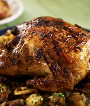 Roasted Chicken Stuffed with Figs and Olives