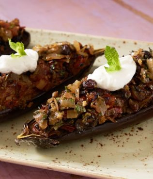 Eggplants Stuffed with Onions, Raisins, and Grape Molasses