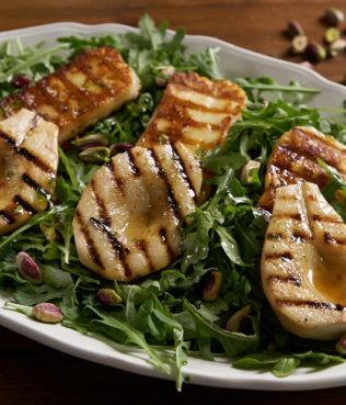 Arugula Salad with Grilled Pears and Grilled Haloumi