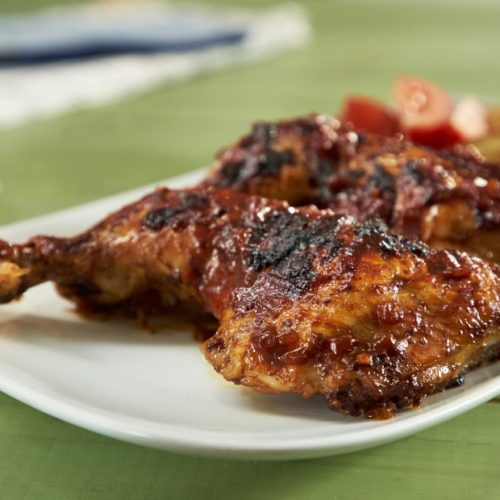 Grilled Chicken Legs With Tomato Olive Barbecue Sauce