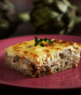 Artichoke Moussaka with Caramelized Onions and Feta