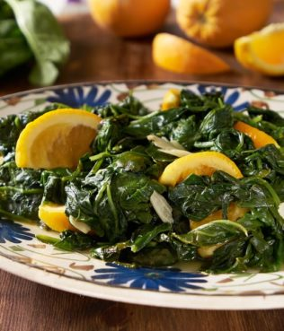 Sautéed Spinach with Orange and Garlic
