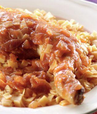 Kokoras me Hilopites - Egg Noodles with Braised Rooster