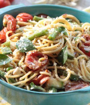 Spaghetti Primavera with Feta