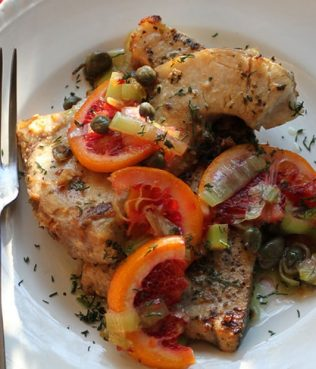Fish Steaks with Santorini Capers, Blood Orange, Ouzo & Leeks