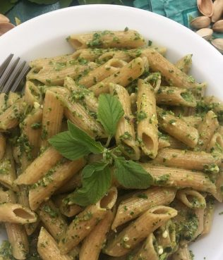 Summer Greens Pasta al Pesto with Aegina Pistachios, Greek Olive Oil & Feta