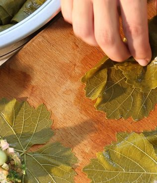 Rhodes-Style Grape Leaves Stuffed with Broad Beans and Bulgur